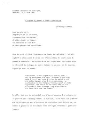 thumbnail of DUMAIS CONF Dialogues de femmes et praxis théologique 1981